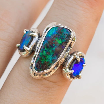 Boulder Opal Statement Ring