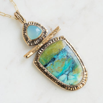 Opalized Wood & Chalcedony Pendant
