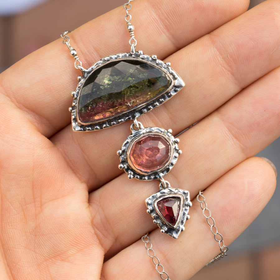 Watermelon Tourmaline Statement Pendant