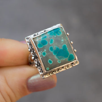 Square Pilot Mountain Turquoise Ring