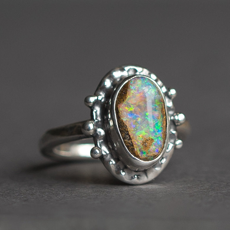 Crystal Pipe Opal Ring