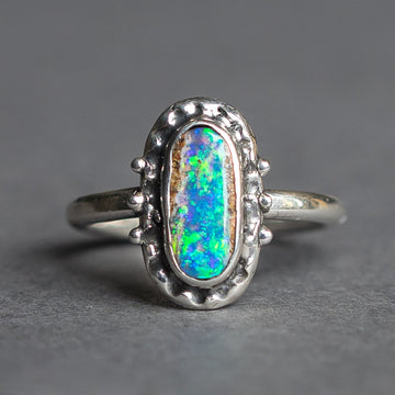 Blue Pipe Opal Ring