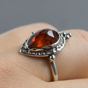 Spessartine Garnet Ring Sz 9