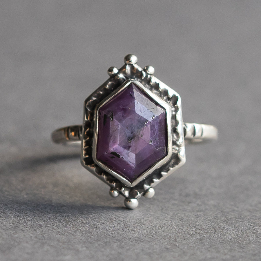 Star Ruby Ring, Pink Sapphire, Pink Ruby Ring, Rose Cut Hex, Purple. Stone, Size 9, Sterling Silver, Gift for her, July Birthstone, antique