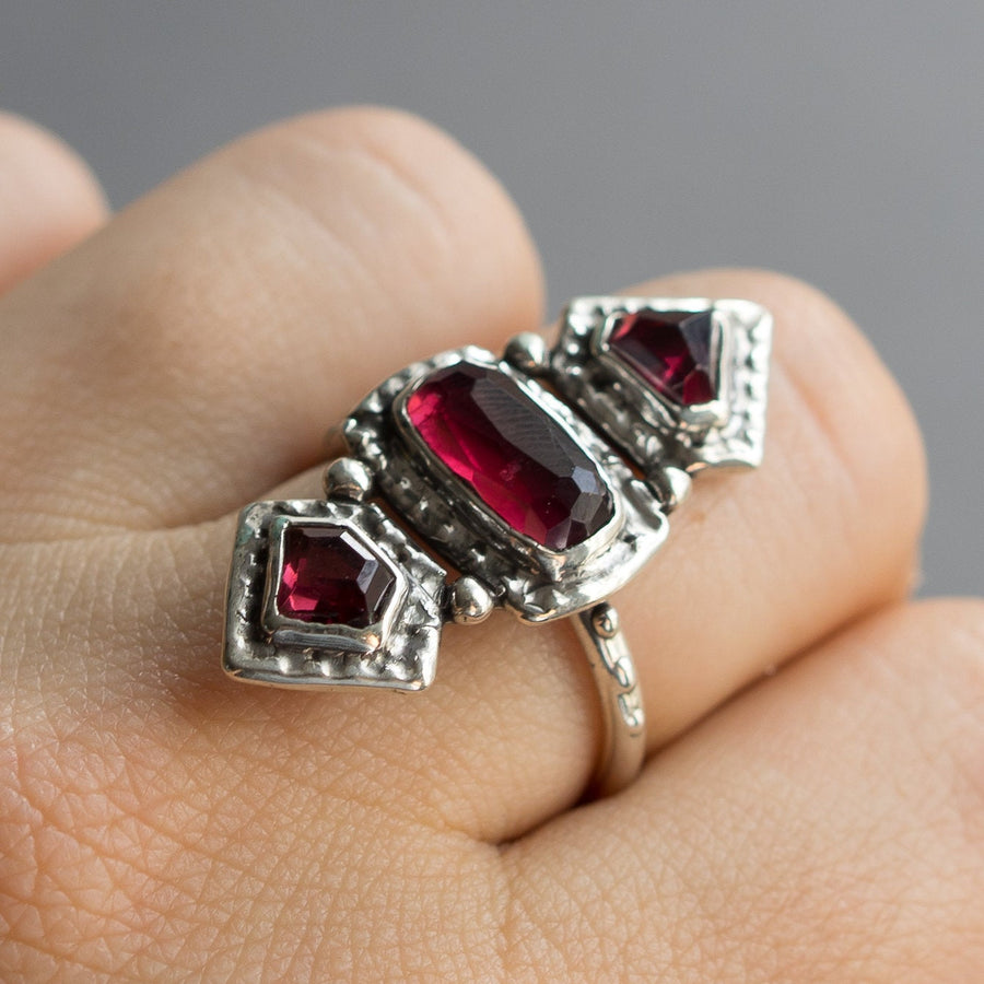 Rhodolite Garnet Statement Ring, Sterling Silver Garnet Ring, Size 9, Faceted Garnet, 3 stone Ring, Red Stone, March Birthstone, Handmade