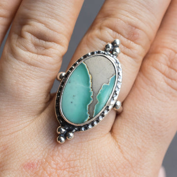 Desert Bloom Variscite Ring, Variscite Ring, Turquoise Ring, Sterling Silver Handmade Ring, Oval, Boho, Size 9, Statement, Gift for her