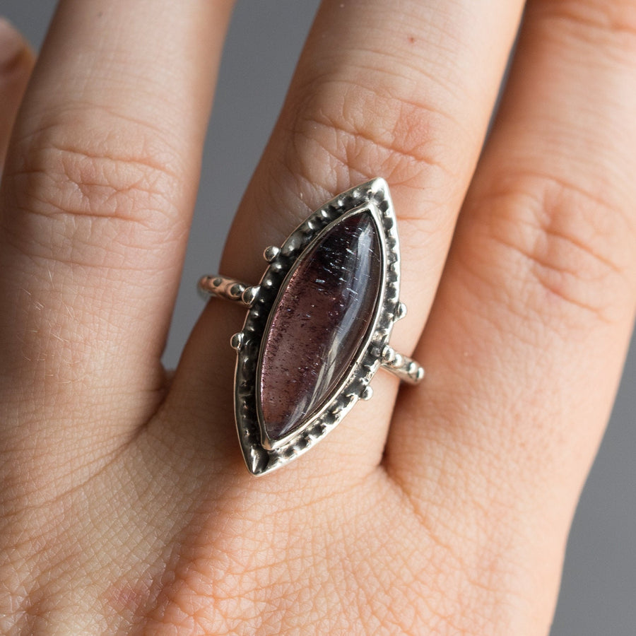 Super 7 Ring Sz 9, Included quartz Ring, Sterling Silver, Size 8, Amethyst Cacoxenite, Red, Marquise, Handmade, One of a kind, Gift For Her