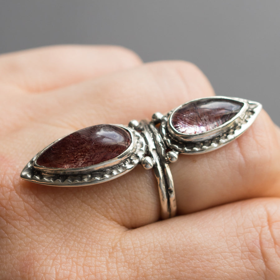Super 7 Ring Sz 8, Included quartz Ring, Sterling Silver, Size 8, Amethyst Cacoxenite, Red, Marquise, Handmade, One of a kind, Gift For Her
