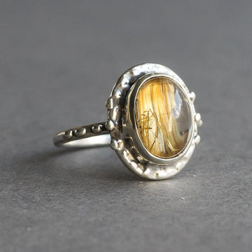 Rutilated Quartz Oval Ring, Sterling Silver, Size 5, Rutile Quartz, Oval, golden rutile, gold ring, Handmade,One of a kind, gift for her