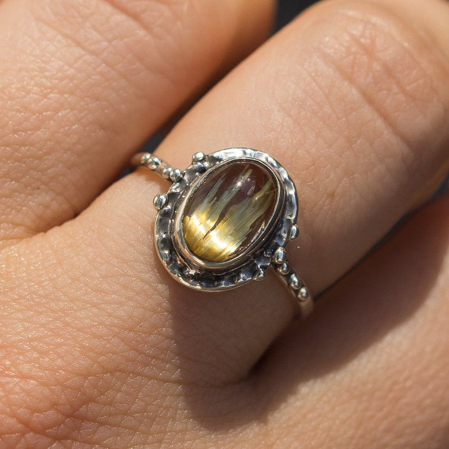 Sz 9 Rutilated Quartz Oval Ring, Sterling Silver, Size 9, Rutile Quartz, Oval, golden rutile, gold ring, Handmade,One of a kind,gift for her