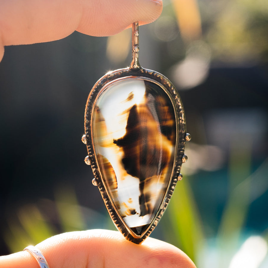 Montana Agate Teardrop Necklace,Bronze Agate Pendant, Banded Agate, Red Agate, Gold Pendant, Unique Gift, OOAK Pendant, Gift For Her