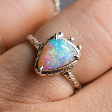 Triangle Crystal Pipe Opal Ring, Australian Opal, Boulder Opal, Size 6, oval stone, Solitaire Ring, Sterling Silver, Solid Opal,gift for her