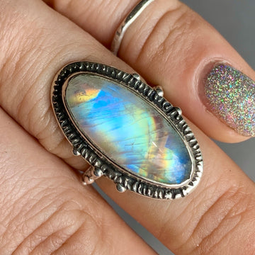 PRE-ORDER FOR MARLA- Moonstone Oval Ring- Sz 7