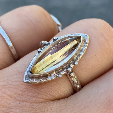 PRE-ORDER FOR AMBER- Rutilated Quartz Ring- Sz 7
