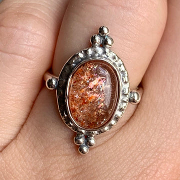 PRE-ORDER FOR KAILI- Confetti Sunstone Oval Ring- Sz 6