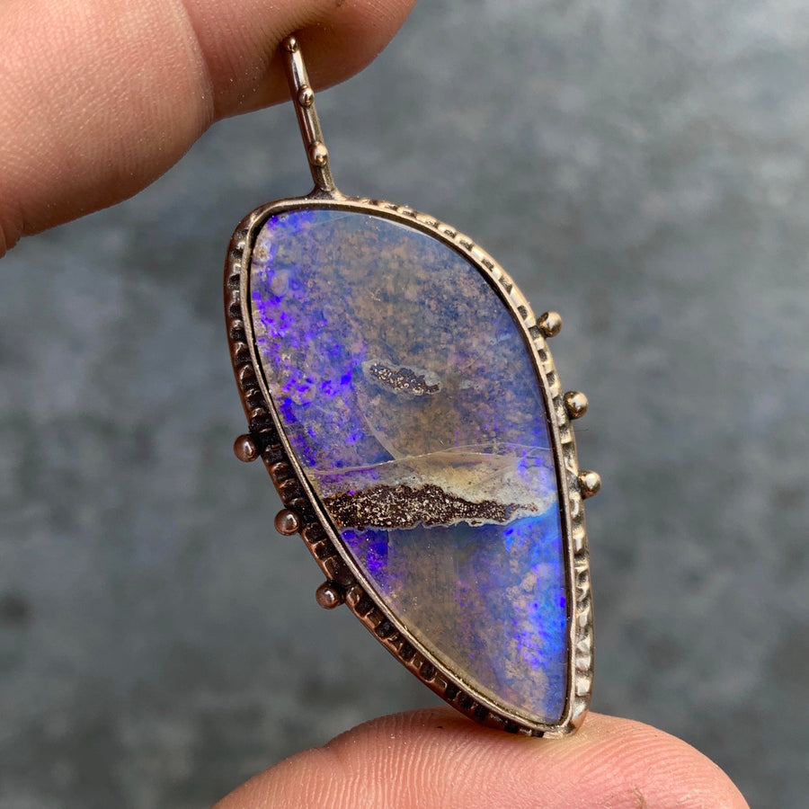 PRE-ORDER FOR M- Purple Boulder Opal Bronze Pendant