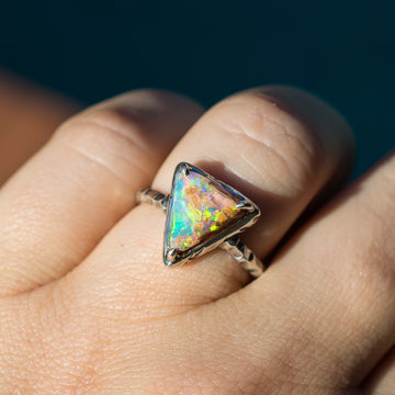 PRE-ORDER FOR COCO- Triangle Pipe Opal Ring Sz 7