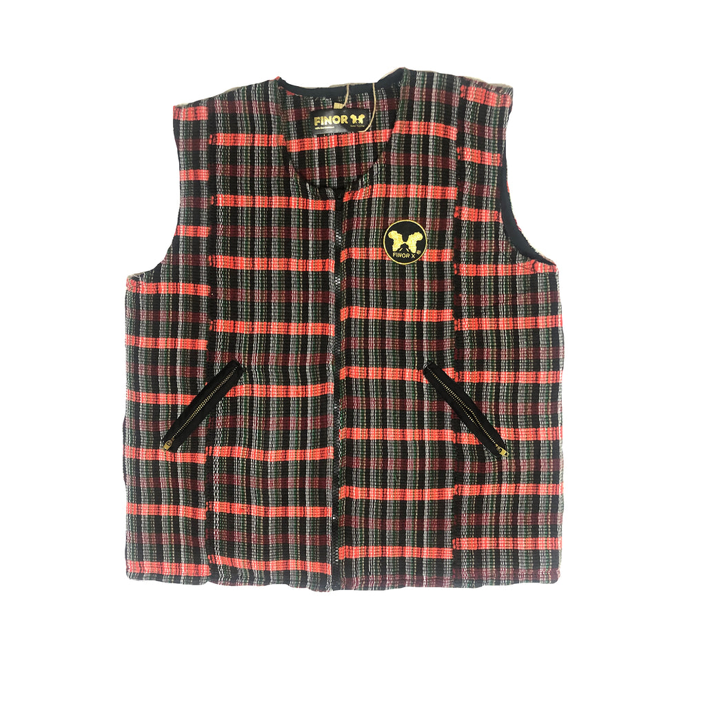 Bai Bureh Ronko Vest: Plaid Country Cloth
