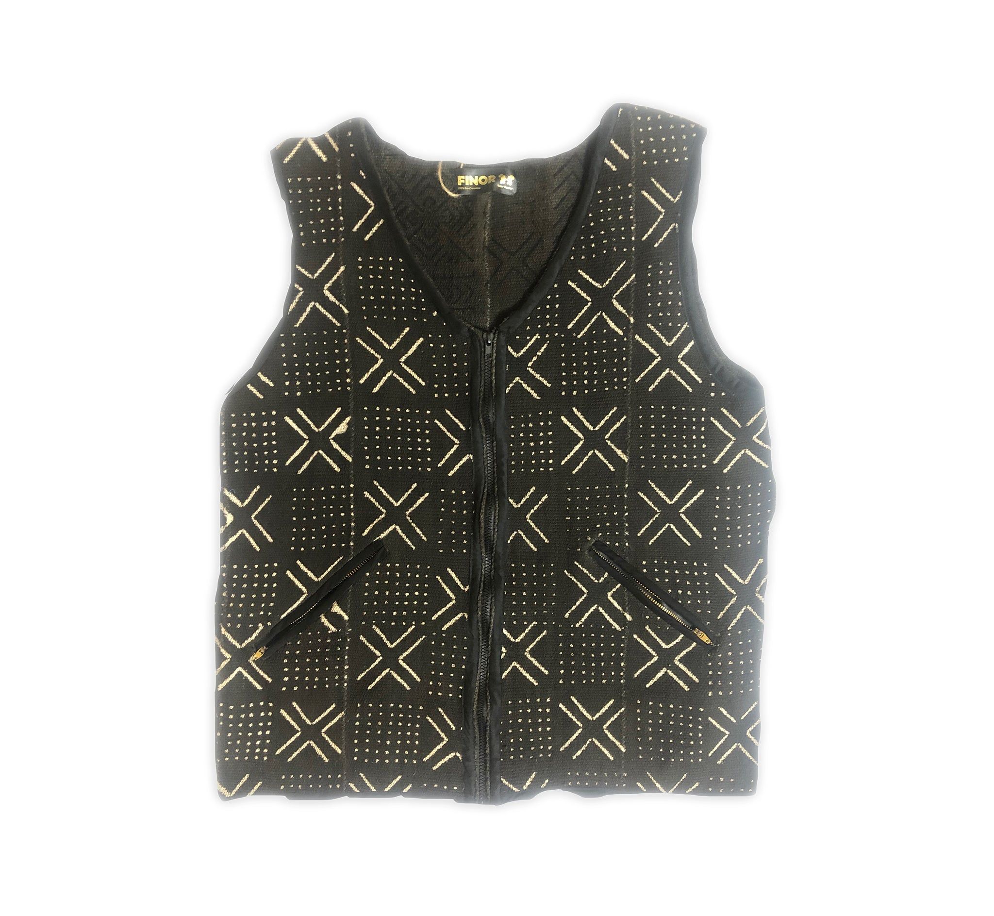 Mansa Musa Vest: Black Mud Cloth Vest