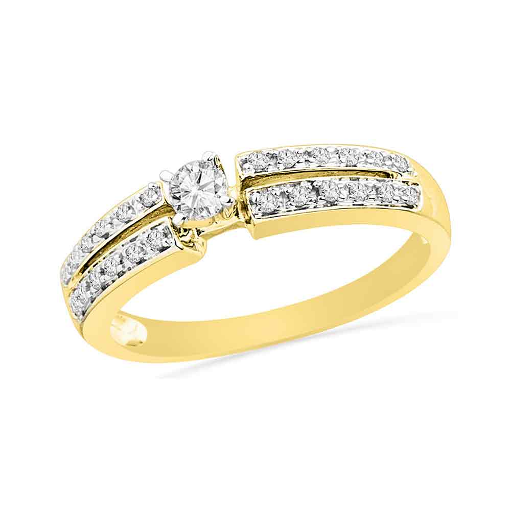 10kt Yellow Gold Womens Round Diamond Solitaire Bridal Wedding Engagement Ring 1/4 Cttw