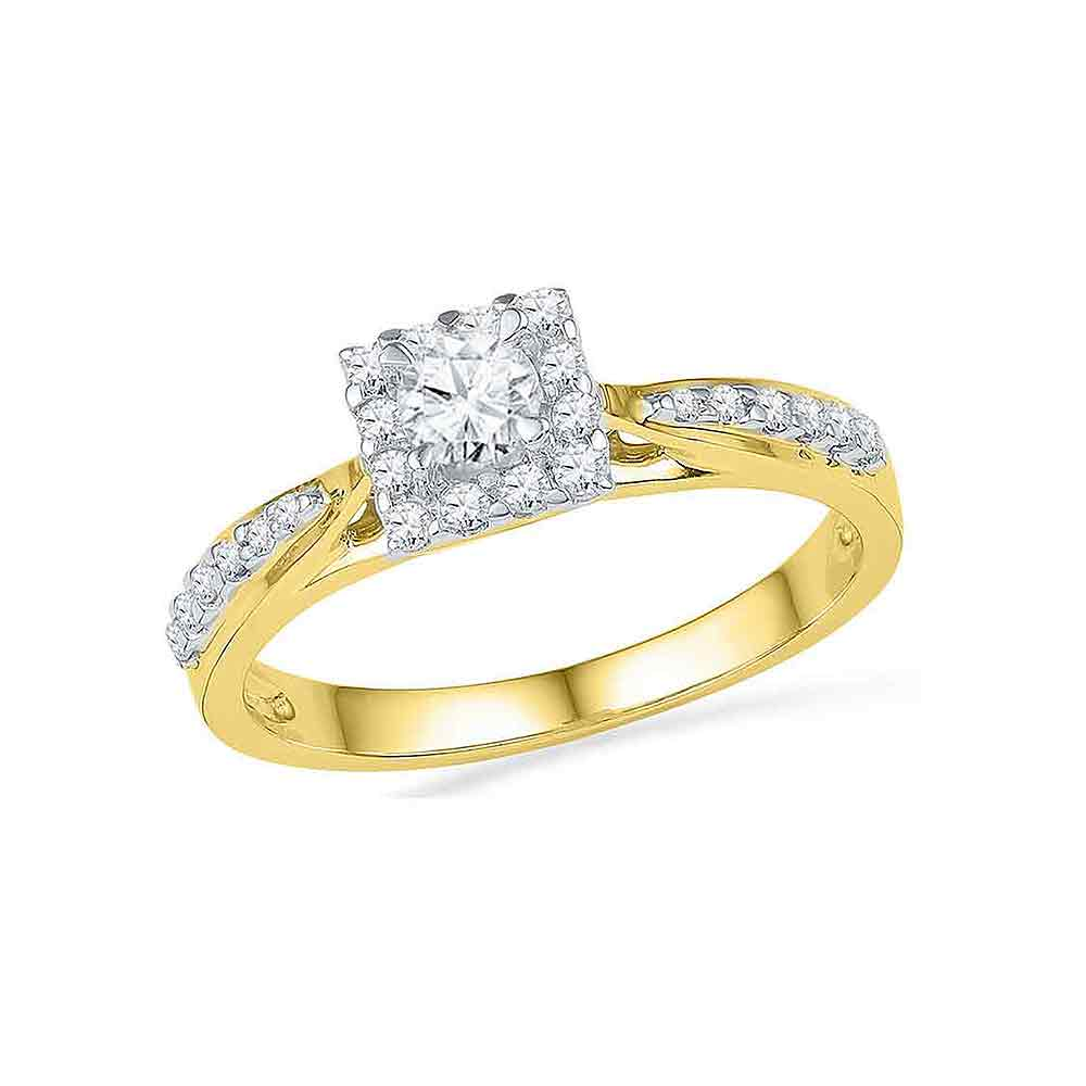 10k Yellow Gold Womens Round Diamond Square Halo Bridal Wedding Engagement Ring 3/8 Cttw