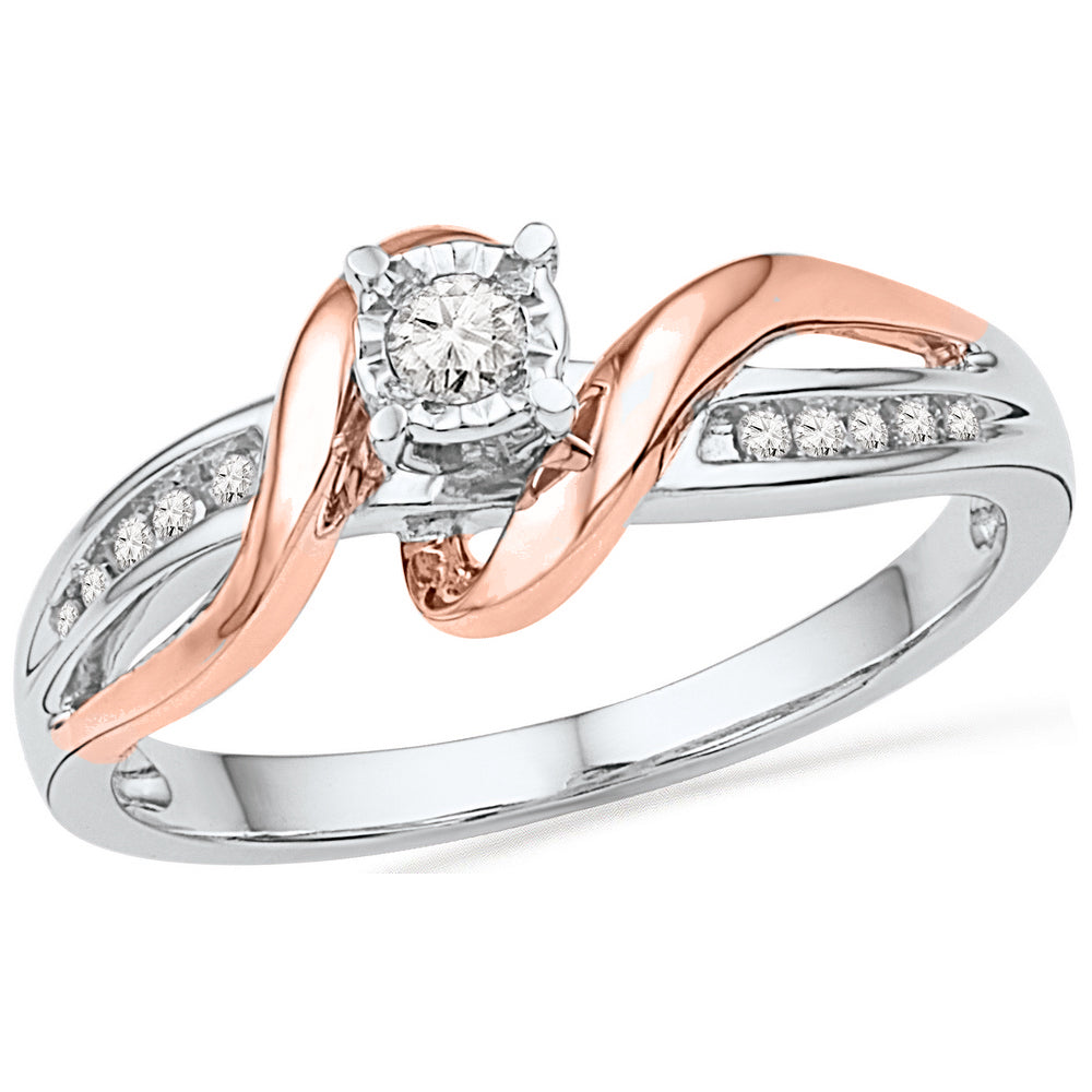 10kt White & Rose-tone Gold Womens Round Diamond Solitaire Bridal Wedding Engagement Ring 1/8 Cttw