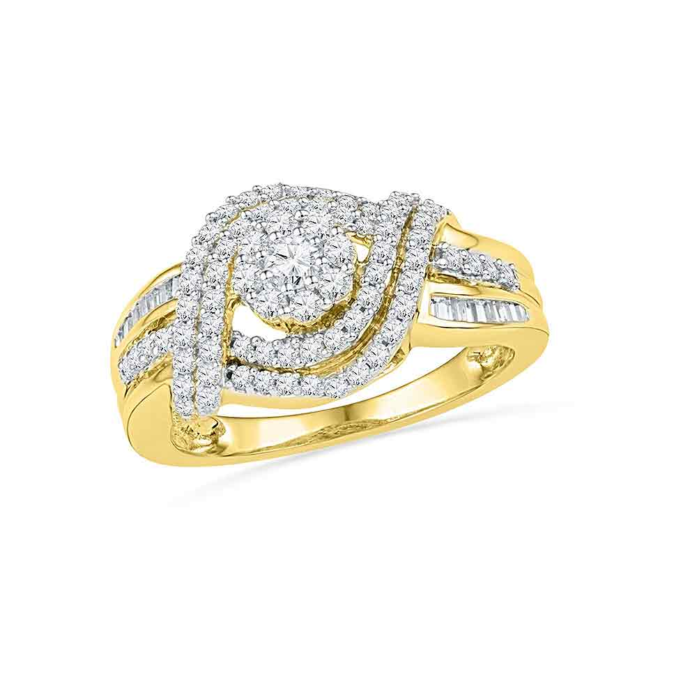 10kt Yellow Gold Womens Round Diamond Cluster Bridal Wedding Engagement Ring 3/4 Cttw