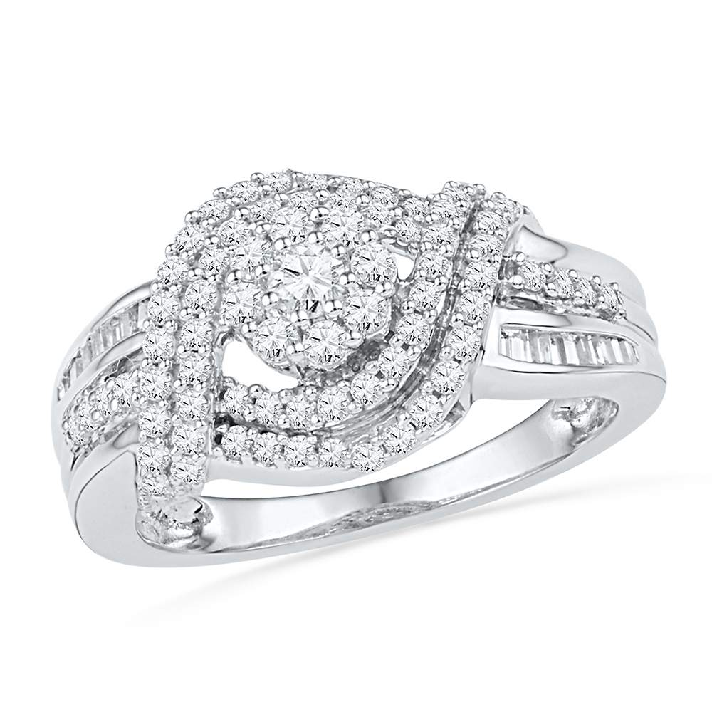 10kt White Gold Womens Round Diamond Cluster Bridal Wedding Engagement Ring 3/4 Cttw