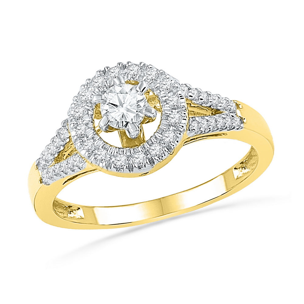 10kt Yellow Gold Womens Round Diamond Solitaire Split-shank Bridal Wedding Engagement Ring 3/8 Cttw