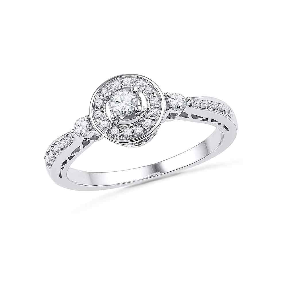 10kt White Gold Womens Round Diamond Solitaire Halo Bridal Wedding Engagement Ring 3/8 Cttw