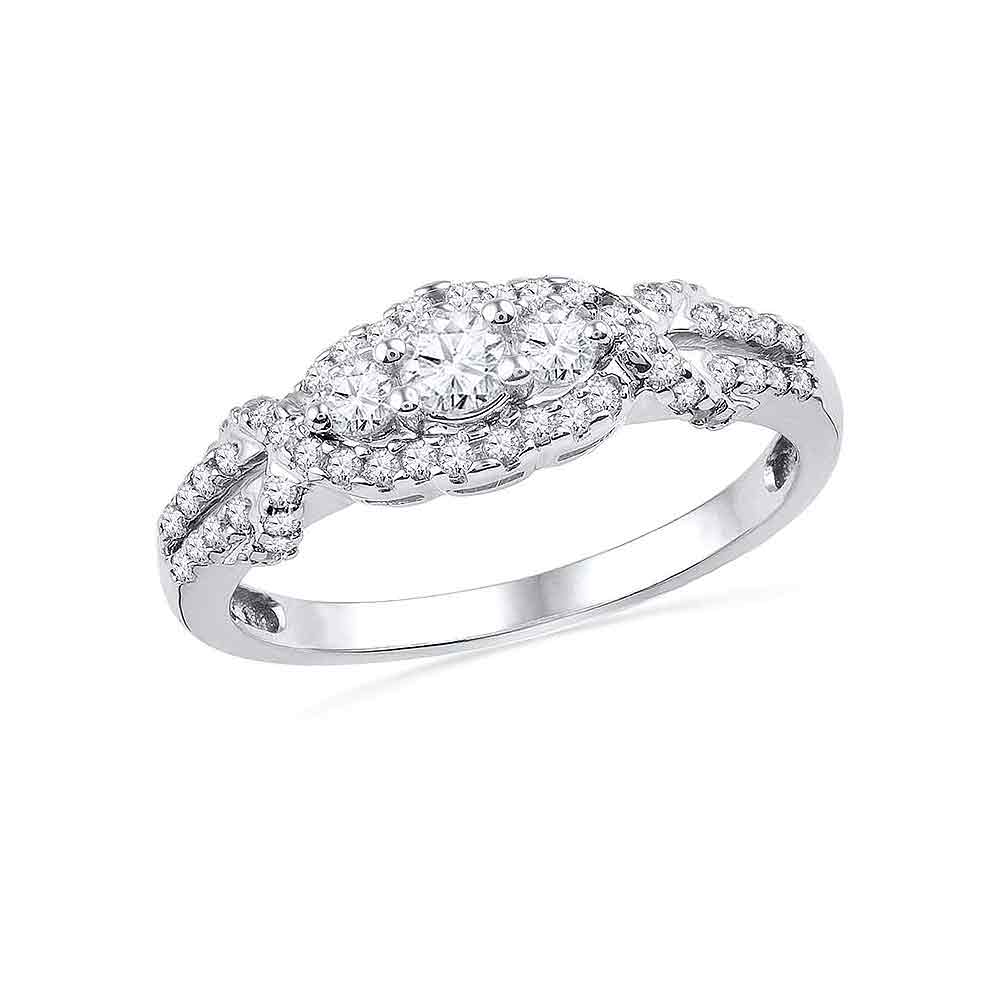 10kt White Gold Womens Round Diamond 3-stone Bridal Wedding Engagement Ring 1/2 Cttw