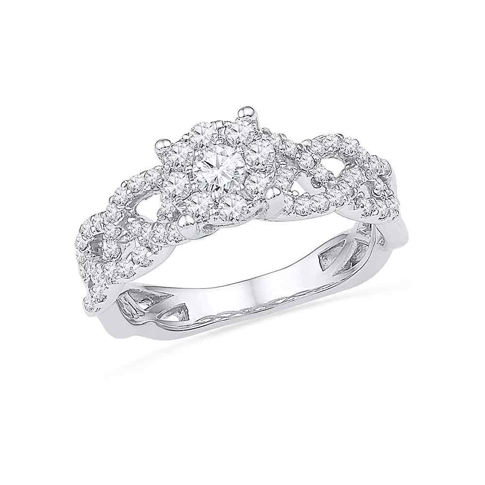10kt White Gold Womens Round Diamond Solitaire Twist Bridal Wedding Engagement Ring 5/8 Cttw