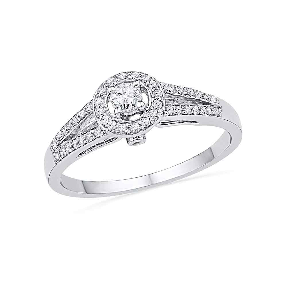 10kt White Gold Womens Round Diamond Solitaire Split-shank Bridal Wedding Engagement Ring 1/4 Cttw