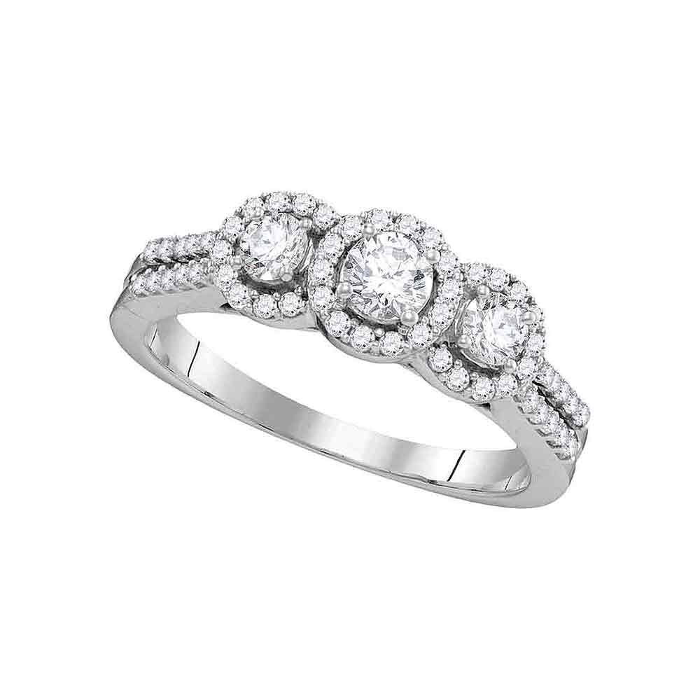 14k White Gold Womens Round Diamond 3-stone Bridal Wedding Engagement Ring 3/4 Cttw