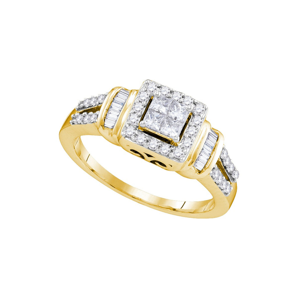 10kt Yellow Gold Womens Princess Diamond Halo Bridal Wedding Engagement Ring 1/2 Cttw