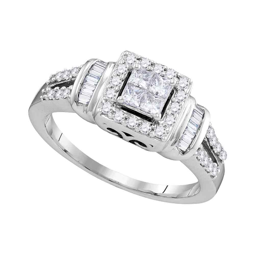 10kt White Gold Womens Princess Diamond Halo Bridal Wedding Engagement Ring 1/2 Cttw