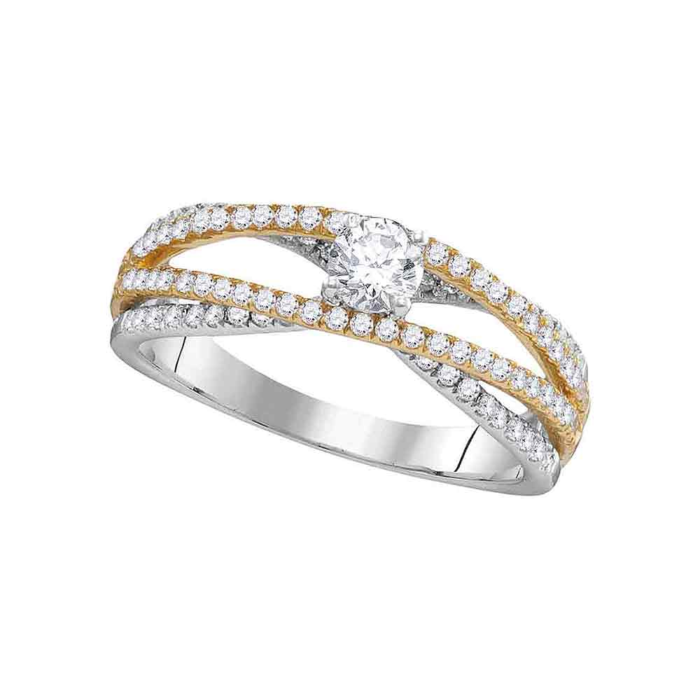 14kt White Gold Womens Round Diamond 2-tone Bridal Wedding Engagement Ring 3/4 Cttw