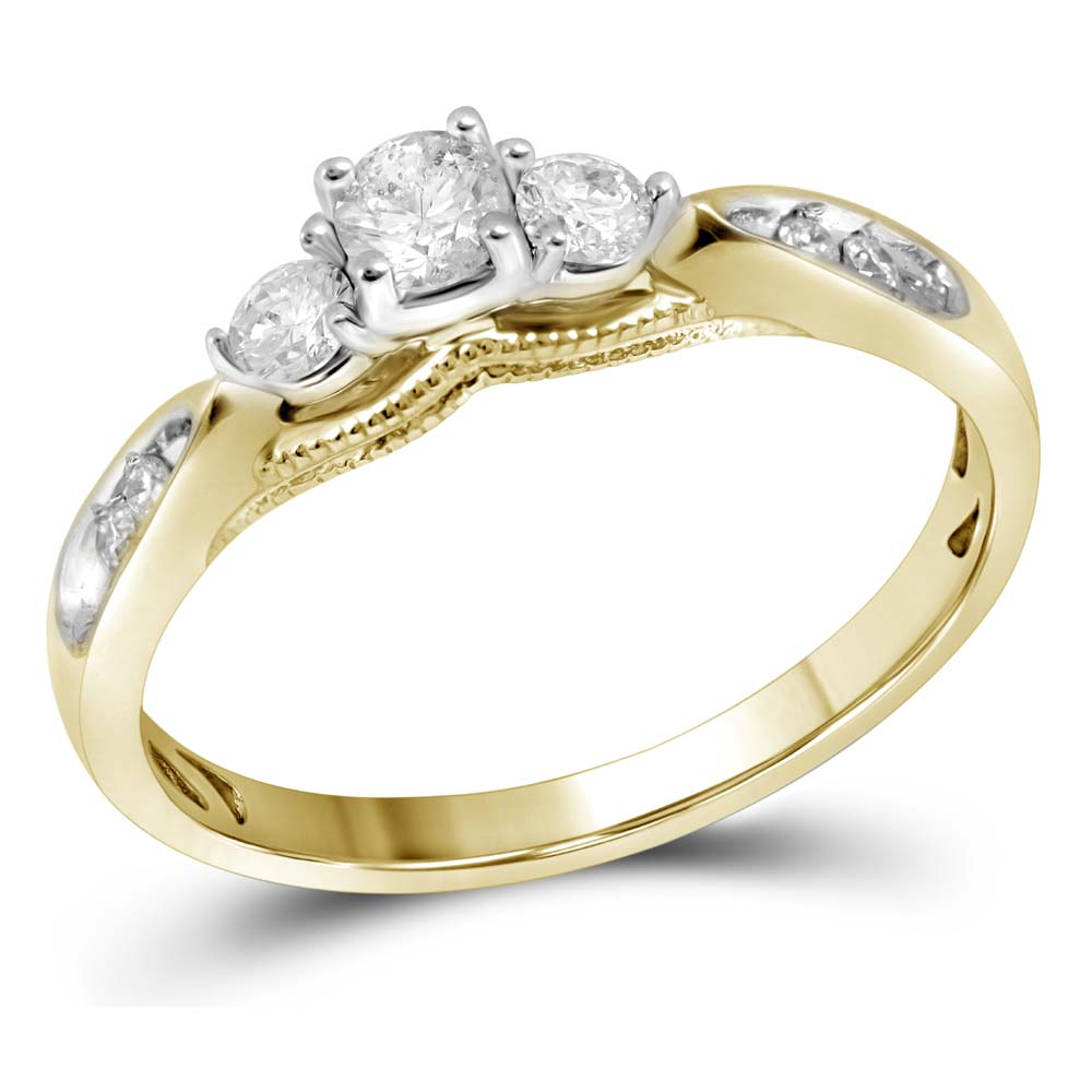 10kt Yellow Gold Womens Round Diamond 3-stone Bridal Wedding Engagement Ring 3/8 Cttw