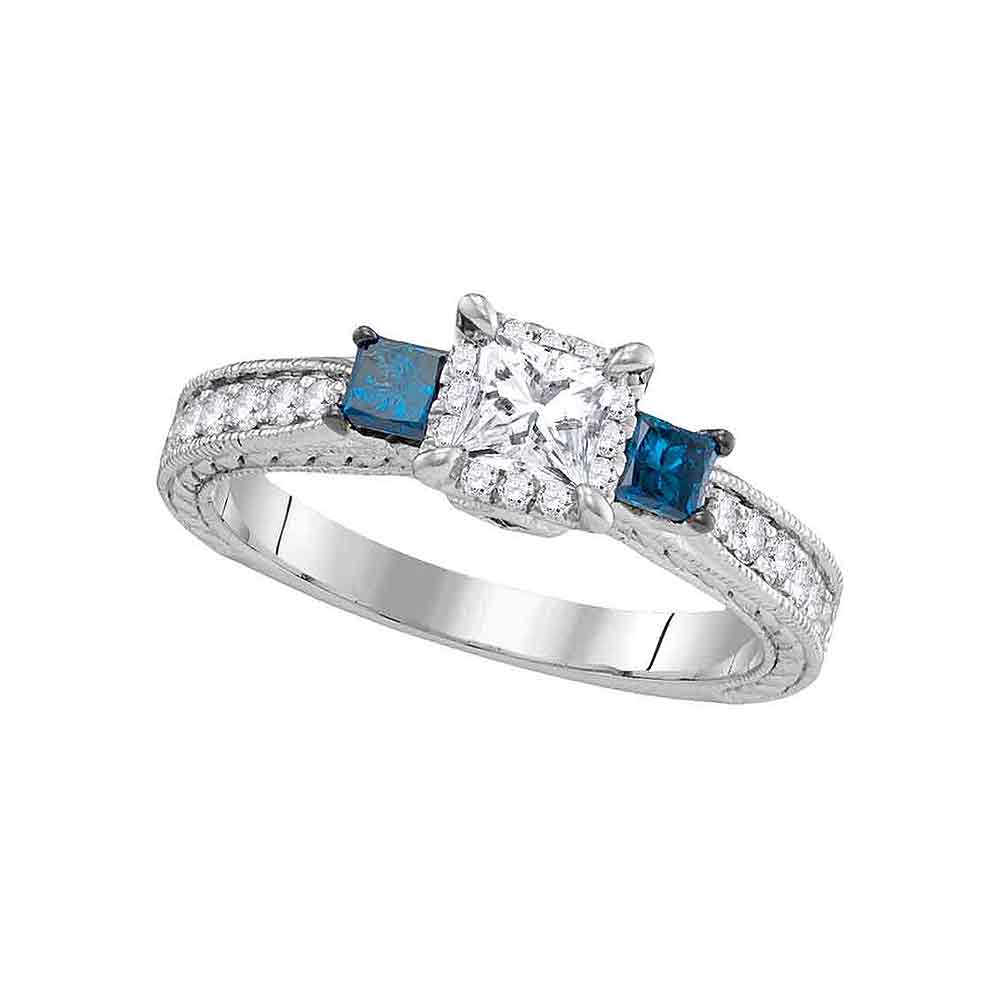14k White Gold Womens 3-stone Blue Color Enhanced Diamond Wedding Bridal Engagement Ring 1.00 Cttw