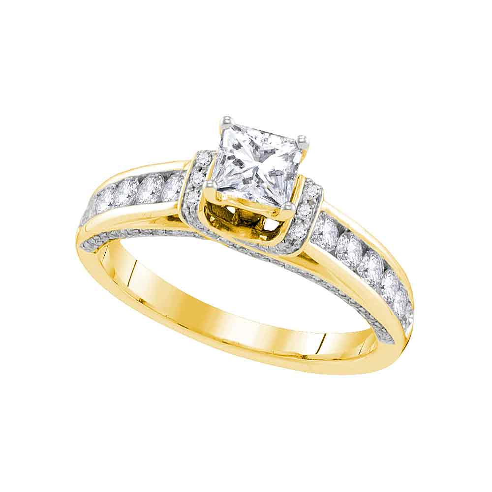 14kt Yellow Gold Womens Princess Diamond Solitaire Bridal Wedding Engagement Ring 1-1/4 Cttw