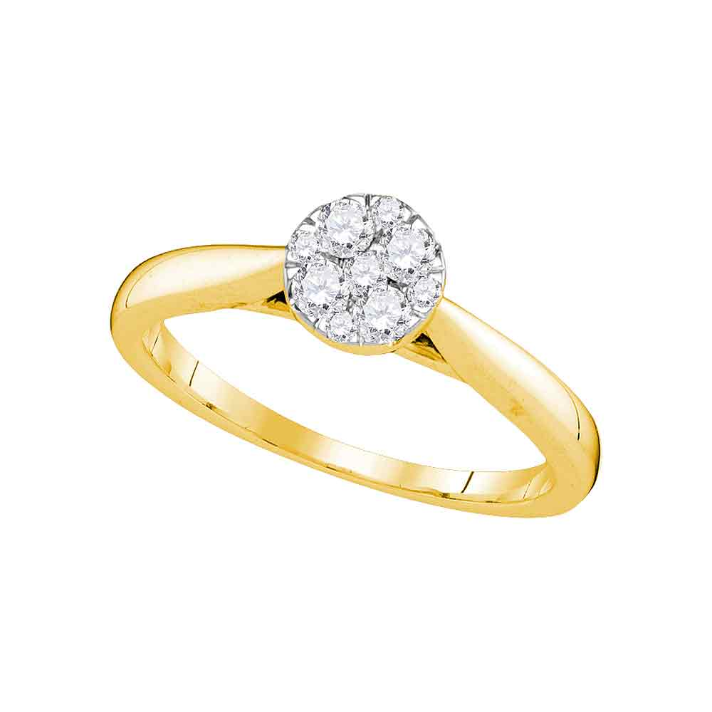 14kt Yellow Gold Womens Round Diamond Larissa Cluster Bridal Wedding Engagement Ring 1/4 Cttw