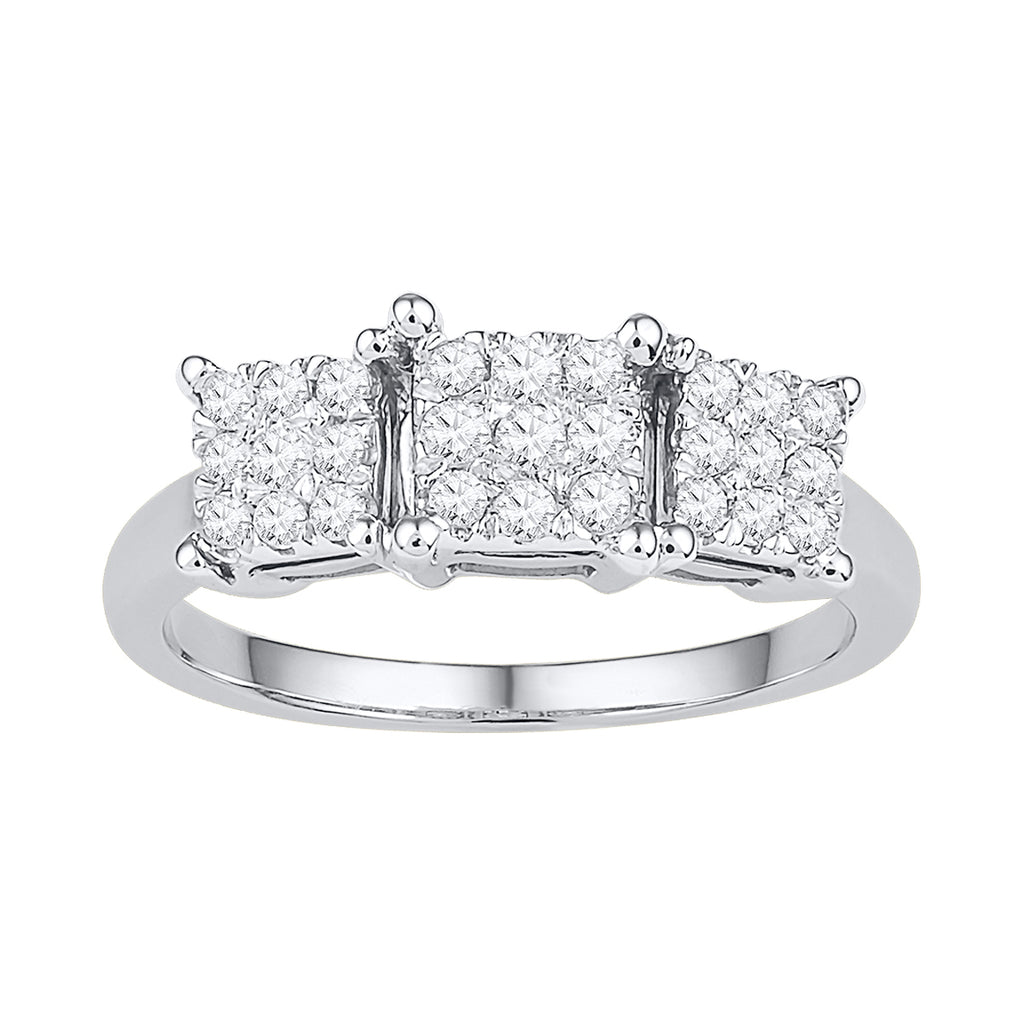 10kt White Gold Womens Round Diamond Triple Cluster Bridal Wedding Engagement Ring 3/8 Cttw