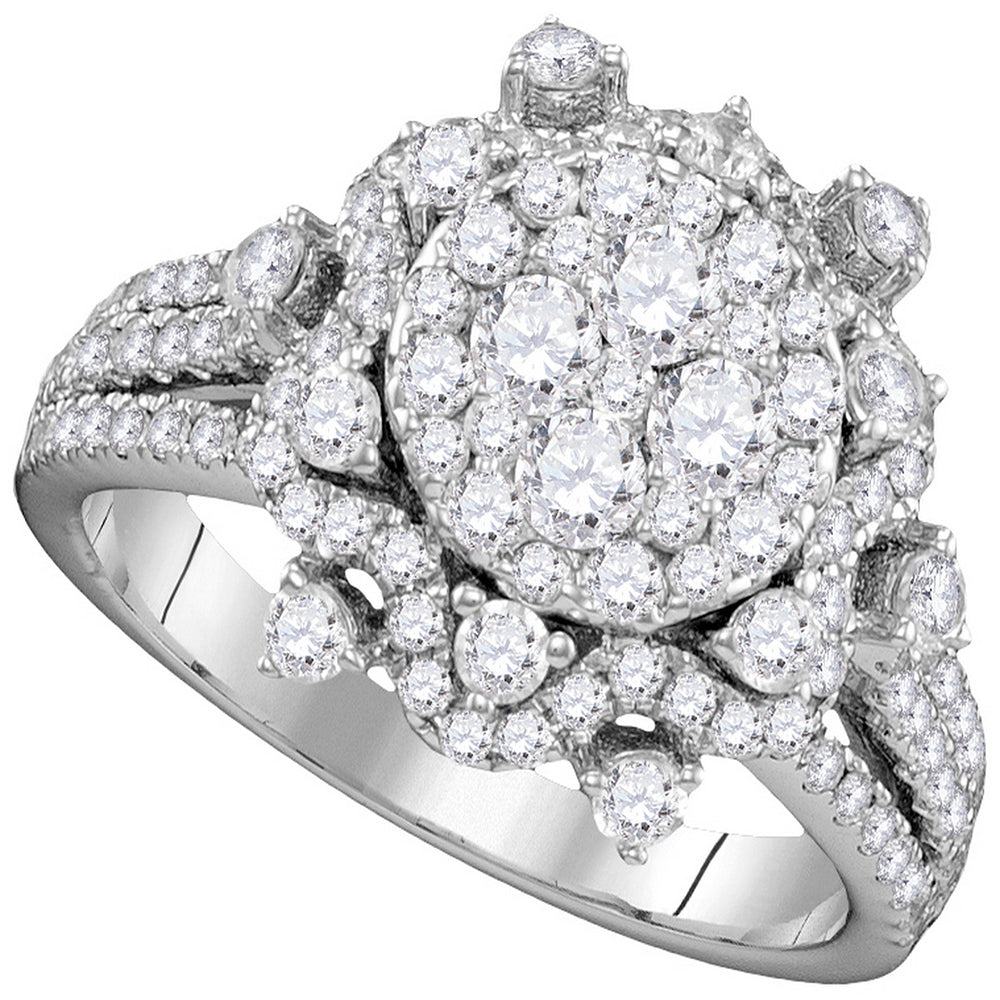 14kt White Gold Womens Round Diamond Cluster Bridal Wedding Engagement Ring 1-5/8 Cttw