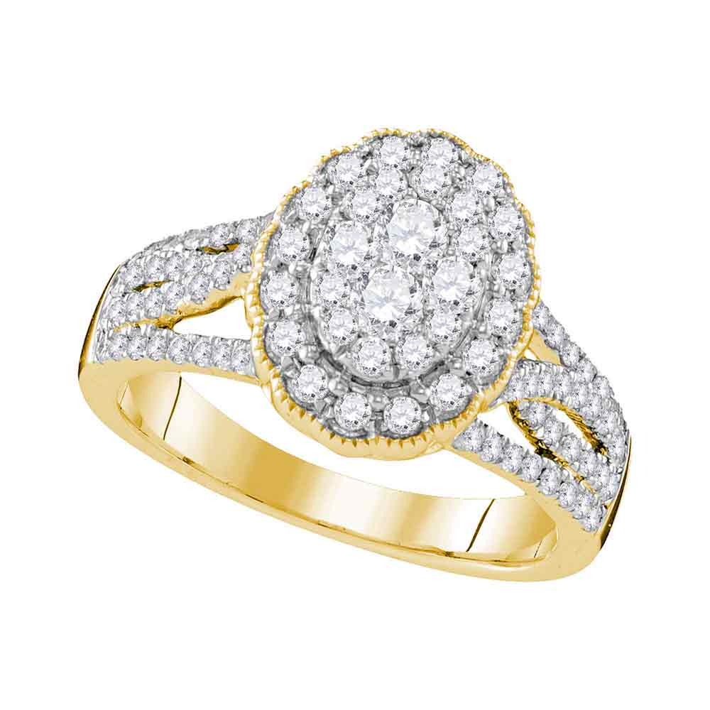 10kt Yellow Gold Womens Round Diamond Oval Halo Cluster Bridal Wedding Engagement Ring 1.00 Cttw