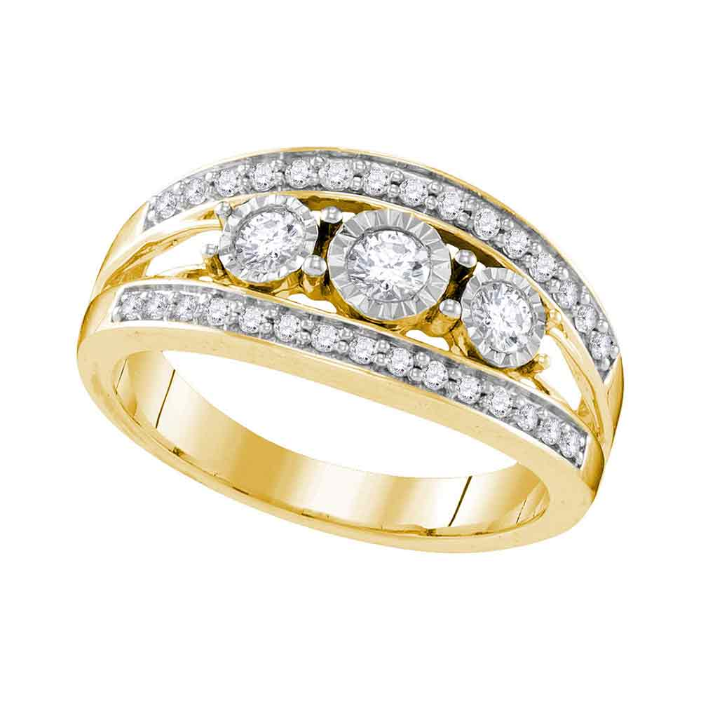 10kt Yellow Gold Womens Round Diamond 3-stone Bridal Wedding Engagement Ring 1/2 Cttw