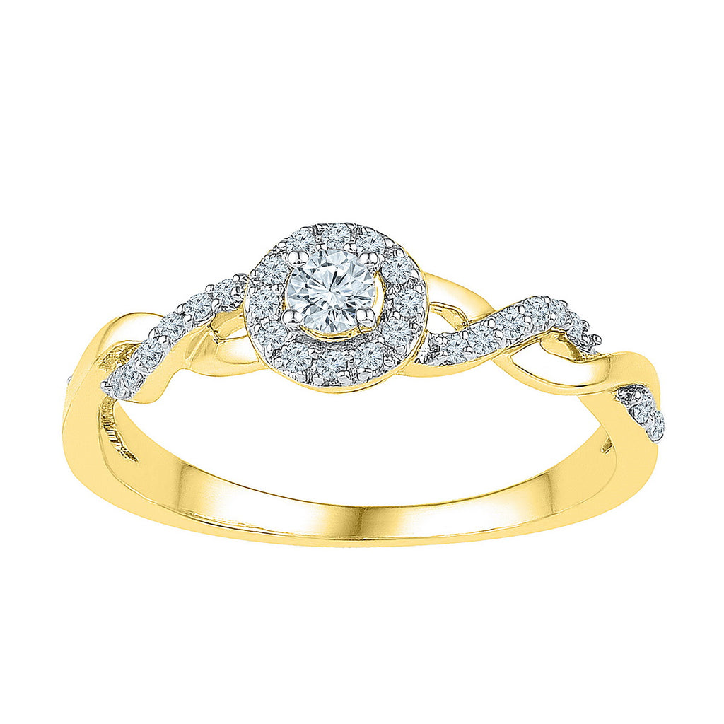 10kt Yellow Gold Womens Round Diamond Solitaire Bridal Wedding Engagement Ring 1/5 Cttw