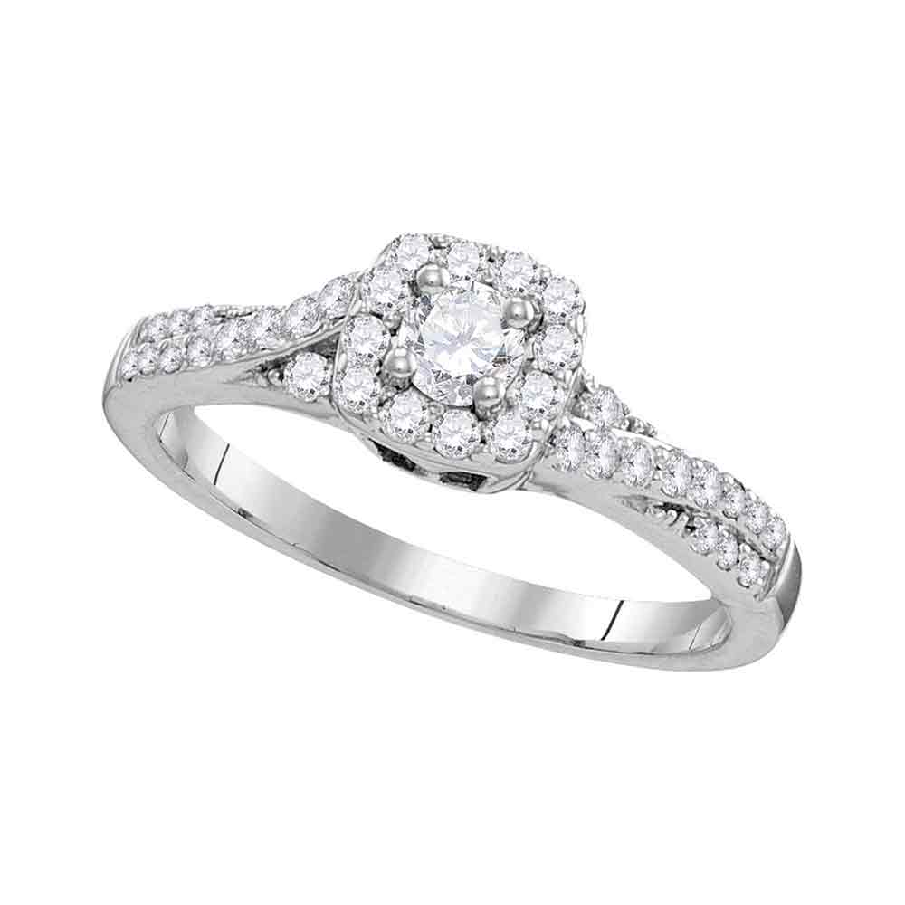 10kt White Gold Womens Round Diamond Solitaire Bridal Wedding Engagement Ring 1/2 Cttw