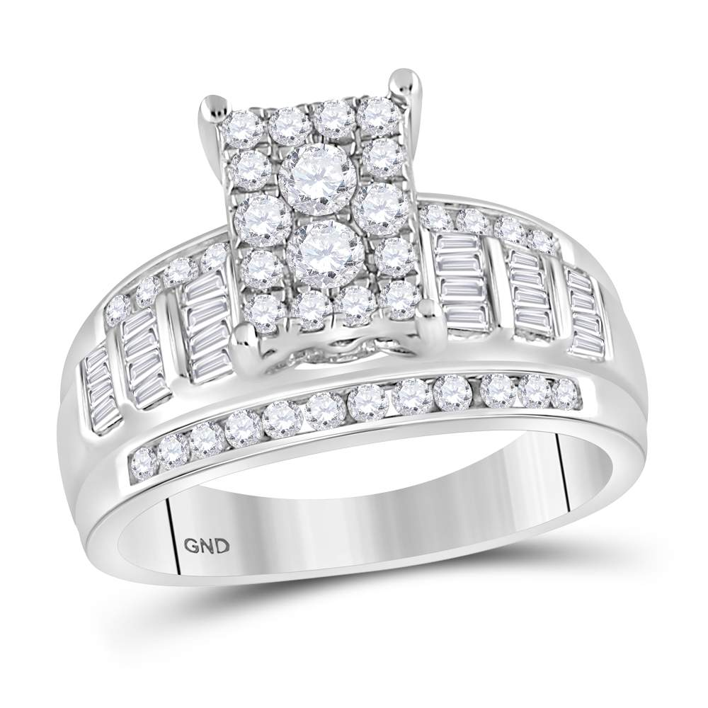10kt White Gold Womens Round Diamond Rectangle Cluster Bridal Wedding Engagement Ring 7/8 Cttw