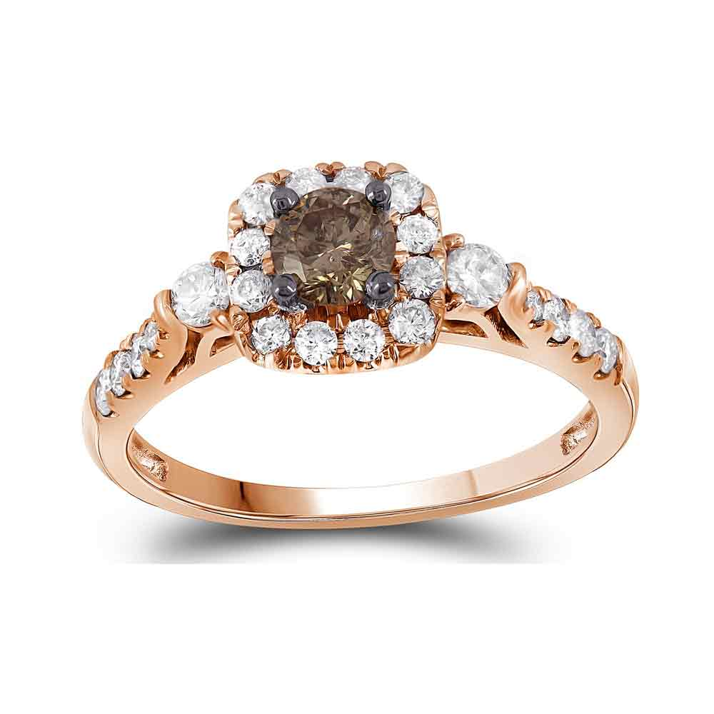 14kt Rose Gold Womens Round Cognac-brown Color Enhanced Diamond Solitaire Bridal Wedding Engagement Ring 3/4