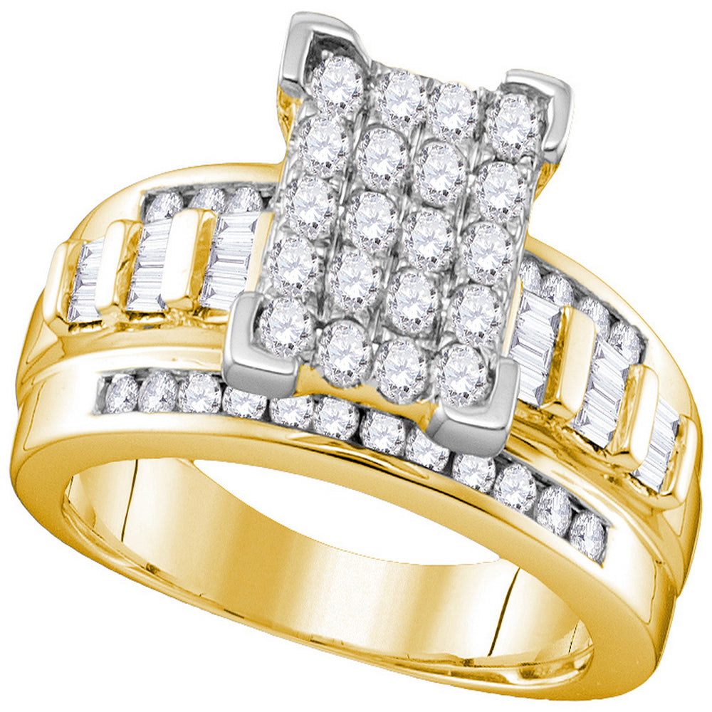 10kt Yellow Gold Womens Round Diamond Elevated Rectangle Cluster Bridal Wedding Engagement Ring 1.00 Cttw - Size 9